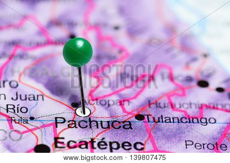 Pachuca pinned on a map of Mexico