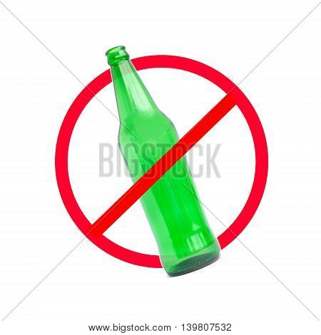 The red circle with slash on the glass bottle of alcohol on white background; concept for stop drinking.