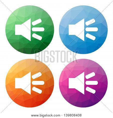 Set  Of 4 Isolated Modern Low Polygonal Buttons - Icons - For Speaker On, Loud Sound On