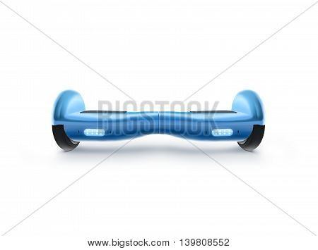 Blue hyro scooter stand isolated on white 3d illustration. Hover board scoter. Two wheel transport device. Electriic hyroscooter. Self balancing hoverboard. Driving giroscooter. Futuristic hyroscooter.