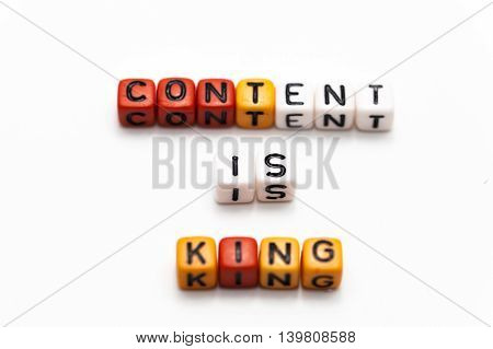 Content Is King Words Arranged In Blocks (shallow Depth Of Field)
