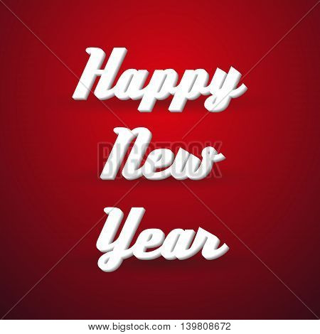 Happy New Year Holidays Modern Paper Like Text Message On Red Background Eps10