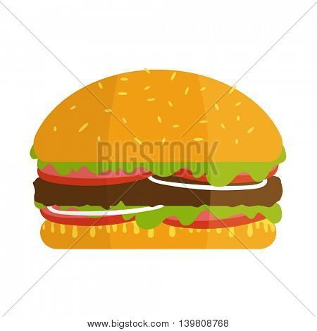 Big hamburger isolated on white background. Hamburger sign in flat style. Vector illustration of isolated burger