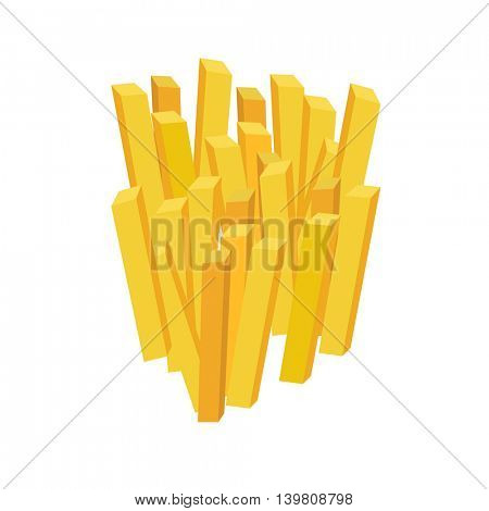 French Fries Potato isolated on white background.  Vector illustration of fast food.