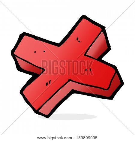 cartoon negative cross symbol