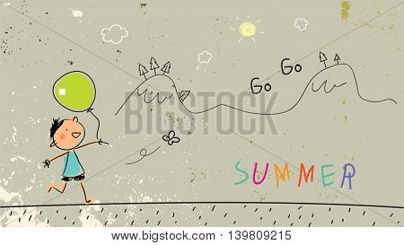 Summer vacation for kids at school. Chalk on blackboard sketch, doodle. Vector illustration.