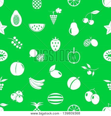 Fruit Theme Icons Set Green And White Seamless Pattern Eps10