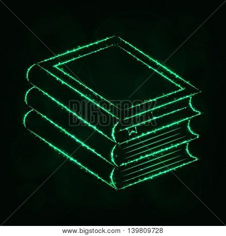 Books Illustration Icon, Spring Green Color Lights Silhouette on Dark Background. Glowing Lines and Points