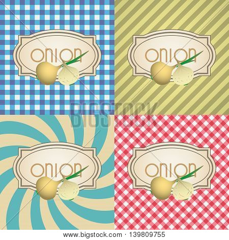 Four Types Of Retro Textured Labels For Onion Eps10