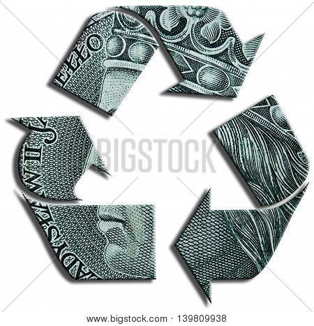 Recycling symbol. 100 Polish Zloty texture. 3D Illustration.