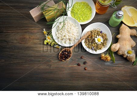 Natural ingredients for skin care on wooden background