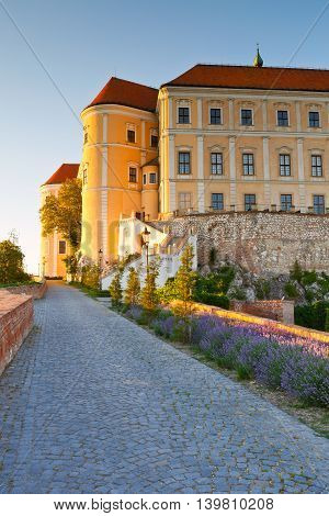Palace in the historic town of Mikulov in Moravia, Czech Republic.