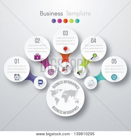 Timeline Vector 3d Infographic five options. Stock vector