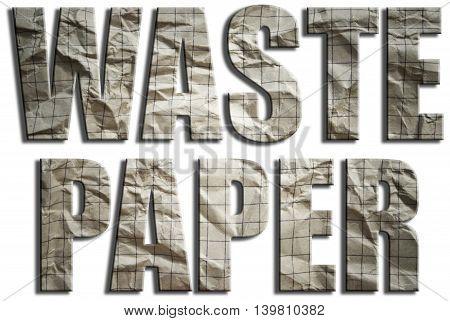 Waste paper. Wrinkled grunge paper textured text. 3D Illustration.