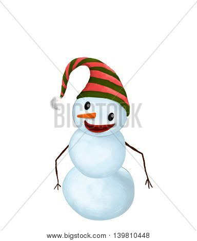 Isolated Funny Smiling Snowman with Hat and Carrot Nose