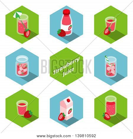 Set of isometric strawberry drinks and beverages icons in flat design
