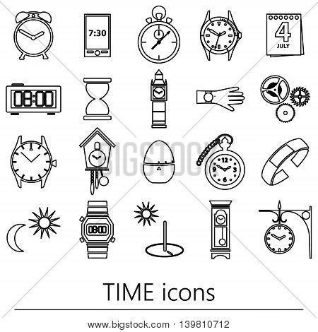 Time Theme Modern Simple Outline Icons Set Eps10