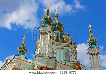 Saint Andrew orthodox church by Rastrelli in Kyiv, Ukraine