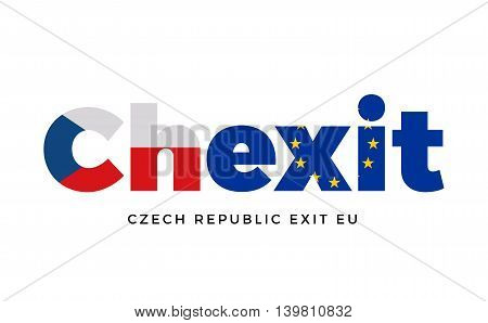 CHEXIT - Czech Republic exit from European Union on Referendum. Vector Isolated