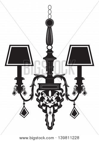 Baroque Elegant Rich Wall lamp with ornaments.Vector Elegant Royal Baroque Style Wall lamp