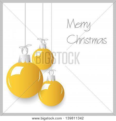 Shiny Yellow Christmas Decoration Baubles Hanging Eps10