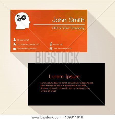Red Low Polygon Paper Like Business Card Design Eps10