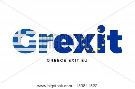 GREXIT - Greece exit from European Union on Referendum. Vector Isolated