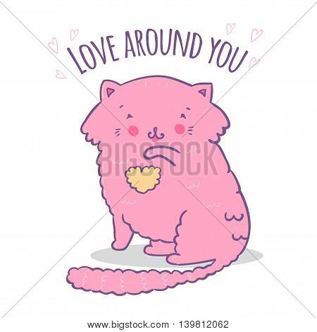 Vector illustration cute cat. Ideal for party invitations. Love around you