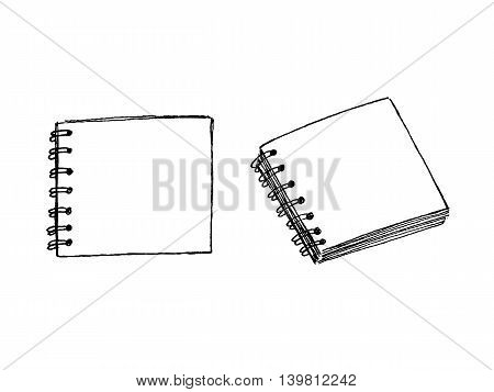 Hand drawn square notebook views vector illustration