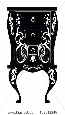 Elegant commode table with drawers. Baroque style luxury rich ornaments. Vector sketch