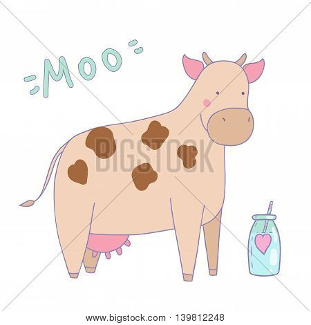 Cute illustration of cow cartoon with milk bottle