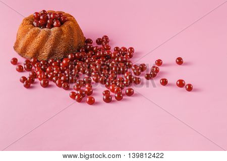 Cherry Cake And Cherrie Berry On Pink Background