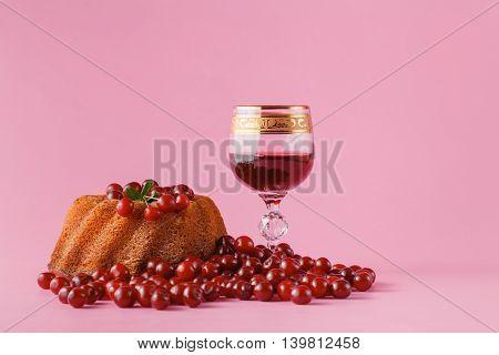 Round Cake And Cherry Brandy