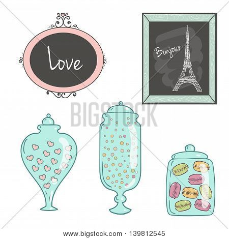 Glass jars with sweets pictures in frames drawing Eiffel Tower.Ideal for wedding invitations and save the date invitations