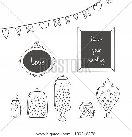 Glass jars garlands and pictures in frames. Ideal for wedding invitations and save the date invitations