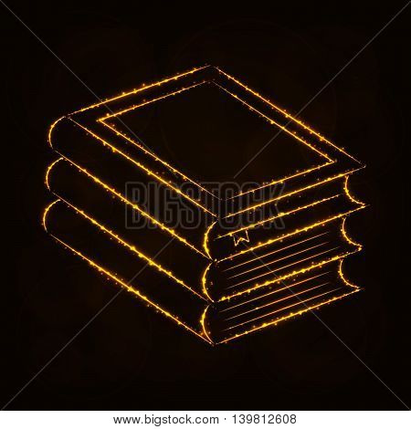Books Illustration Icon, Gold Color Lights Silhouette on Dark Background. Glowing Lines and Points