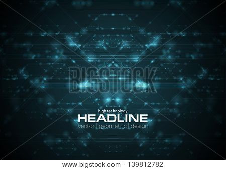 Abstract blue shiny cyberspace tech background. Vector neon future design