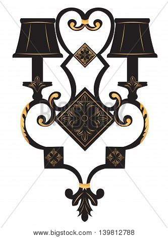 Baroque Elegant Rich Wall lamp with golden ornaments.Vector Elegant Royal Baroque Style Wall lamp