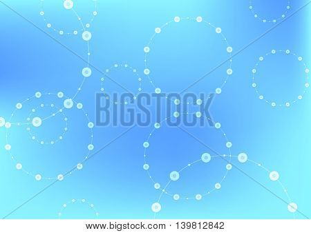 Bright blue tech circles abstract background. Vector design