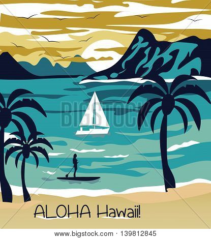 Summer beach with Palm trees Hawaii Card. Vector Holiday Summer background