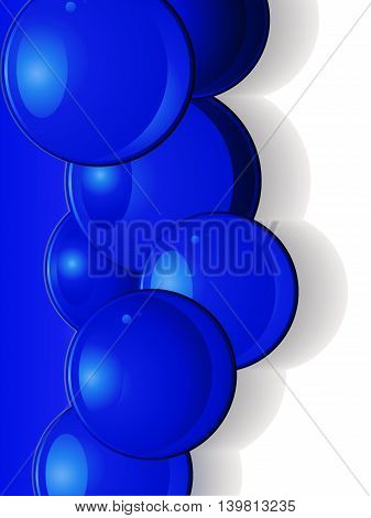 Dark Blue Glossy 3D Spheres Over Blue and White Background with Shadows