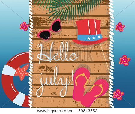Summer Card with glasses and flipflops on wood background. Travel tropic Card. Vector Holiday Exotic background