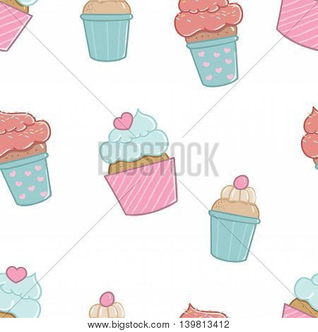 Pattern with cute and delicious cupcakes. Cartoon cupcakes for the invitation registration party wedding.