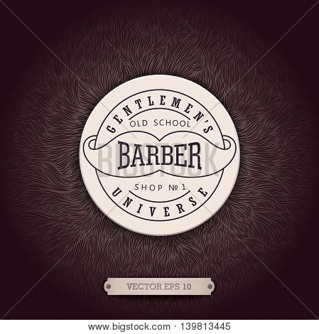 Stylish background for Barbershop with a unique shaggy texture and volumetric emblem. Realistic design for ads and decoration.