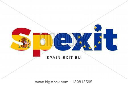 SPEXIT - Spain exit from European Union on Referendum. Vector Isolated