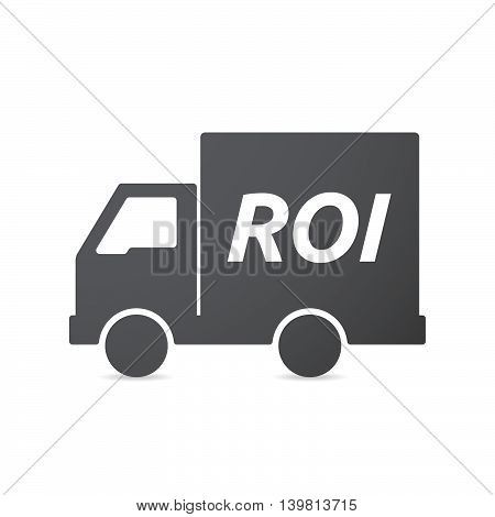 Isolated Truck Icon With    The Return Of Investment Acronym Roi