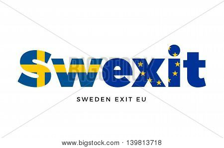 SWEXIT - Sweden exit from European Union on Referendum. Vector Isolated