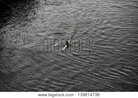 Single Sculler in training on Little Belt in Denmark - view from above