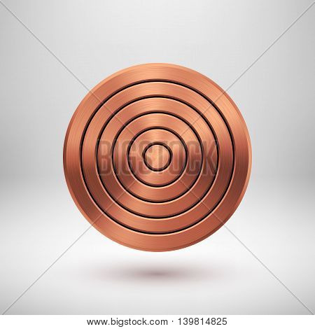Bronze abstract circle geometric badge, technology perforated button template with metal texture, chrome, silver, steel, copper and realistic shadow for logo, design, web, apps. Vector illustration.