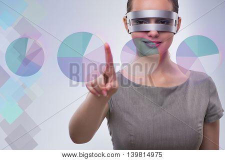 Techno businesswoman in futuristic concept